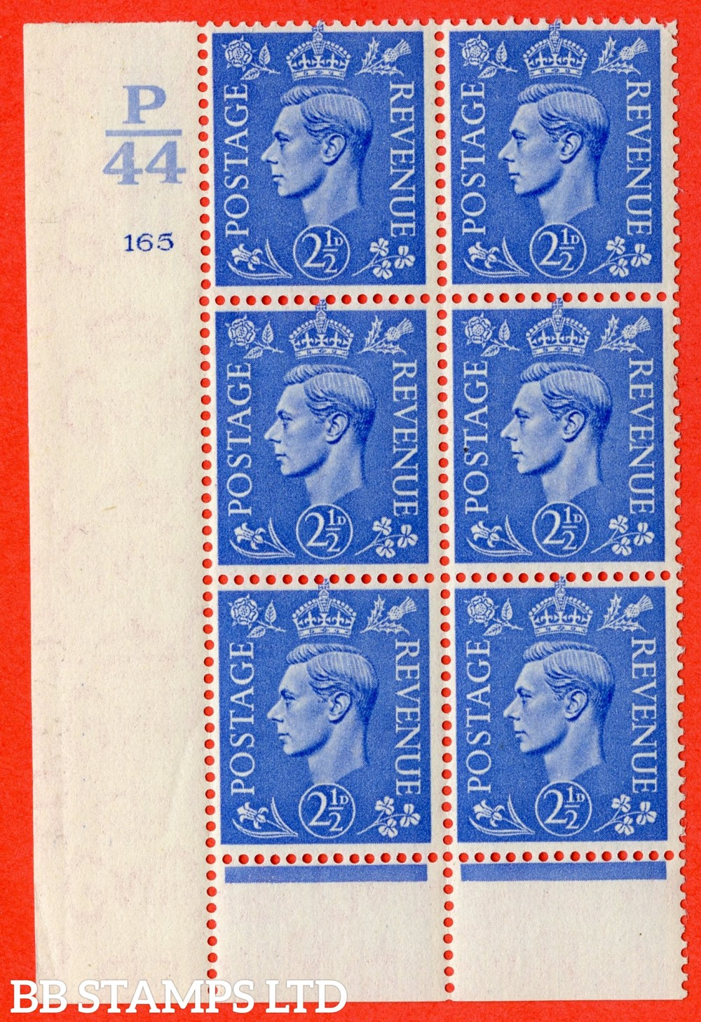 "SG. 489. Q14. 2½d Light ultramarine. A fine lightly mounted mint ""  Control P44 cylinder 165 dot "" control block of 6 with perf type 6 I/P."