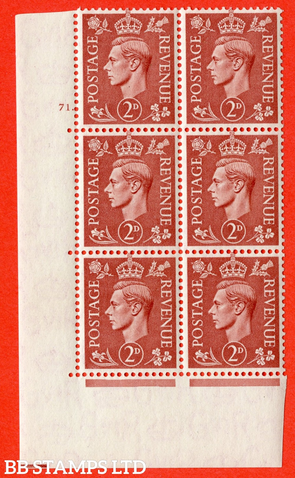 "SG. 506. Q12. 2d Pale Red-Brown. A superb UNMOUNTED MINT "" No Control cylinder 71 dot "" control block of 6 with perf type 5 E/I."