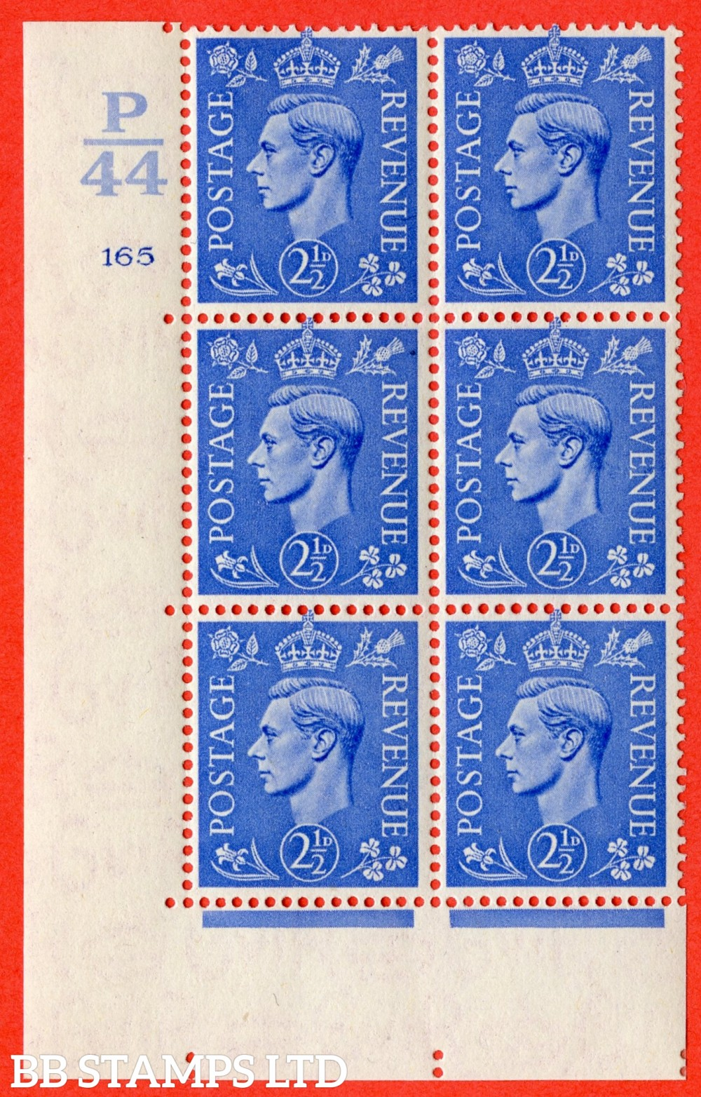 "SG. 489. Q14. 2½d Light ultramarine. A suberb UNMOUNTED MINT "" Control  P44 cylinder 165 no dot "" control block of 6 with perf type 5 E/I."