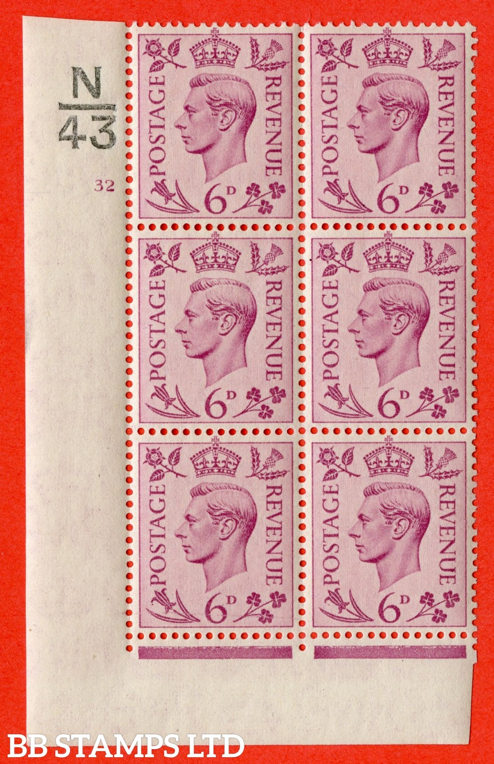 """SG. 470. Q22. 6d Purple. A superb UNMOUNTED MINT """" Control N43 cylinder 32 no dot """" control block of 6 with perf type 2 E/I."""