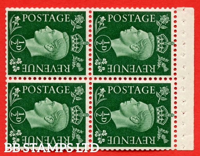 """SG. 462 ab. QB2. ½d green. SIDEWAYS WATERMARK LEFT. A superb MOUNTED MINT complete booklet pane of Four. Perf type """" I """". Good Perfs."""