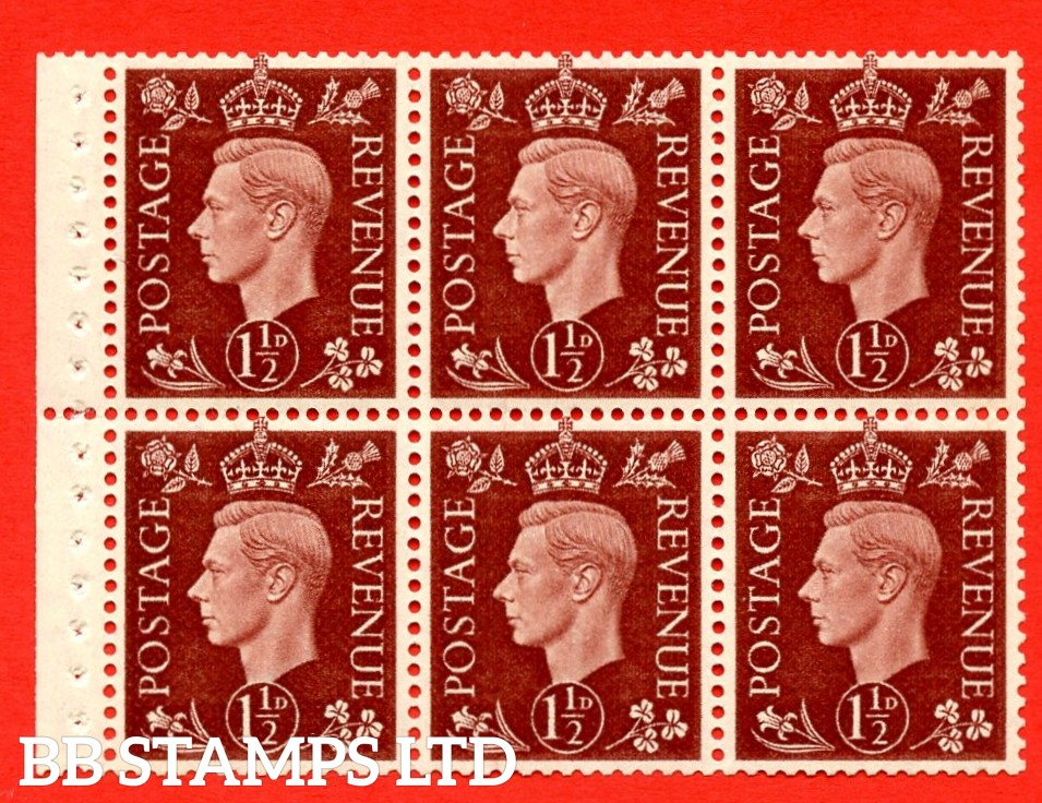 QB21 Perf Type P 1½d Red-Brown x 6 Pane, MOUNTED MINT Watermark Upright. ( SG. 464c ) Perf type P. Good Perfs.