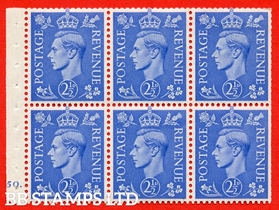 """SG. 489f. QB33. 2½d blue. A fine MOUNTED MINT complete Cylinder pane of 6 J50 dot. Perf type """"B6(IE)"""". Trimmed Perfs."""
