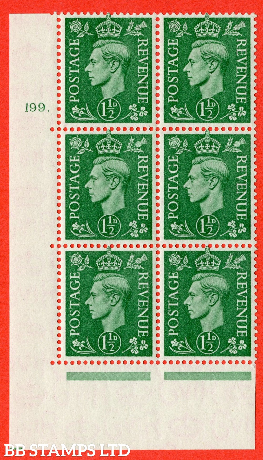 """SG. 505. Q9. 1½d Pale Green.  A fine lightly mounted mint """" No Control cylinder 199 dot """" control block of 6 with perf type 5 E/I."""