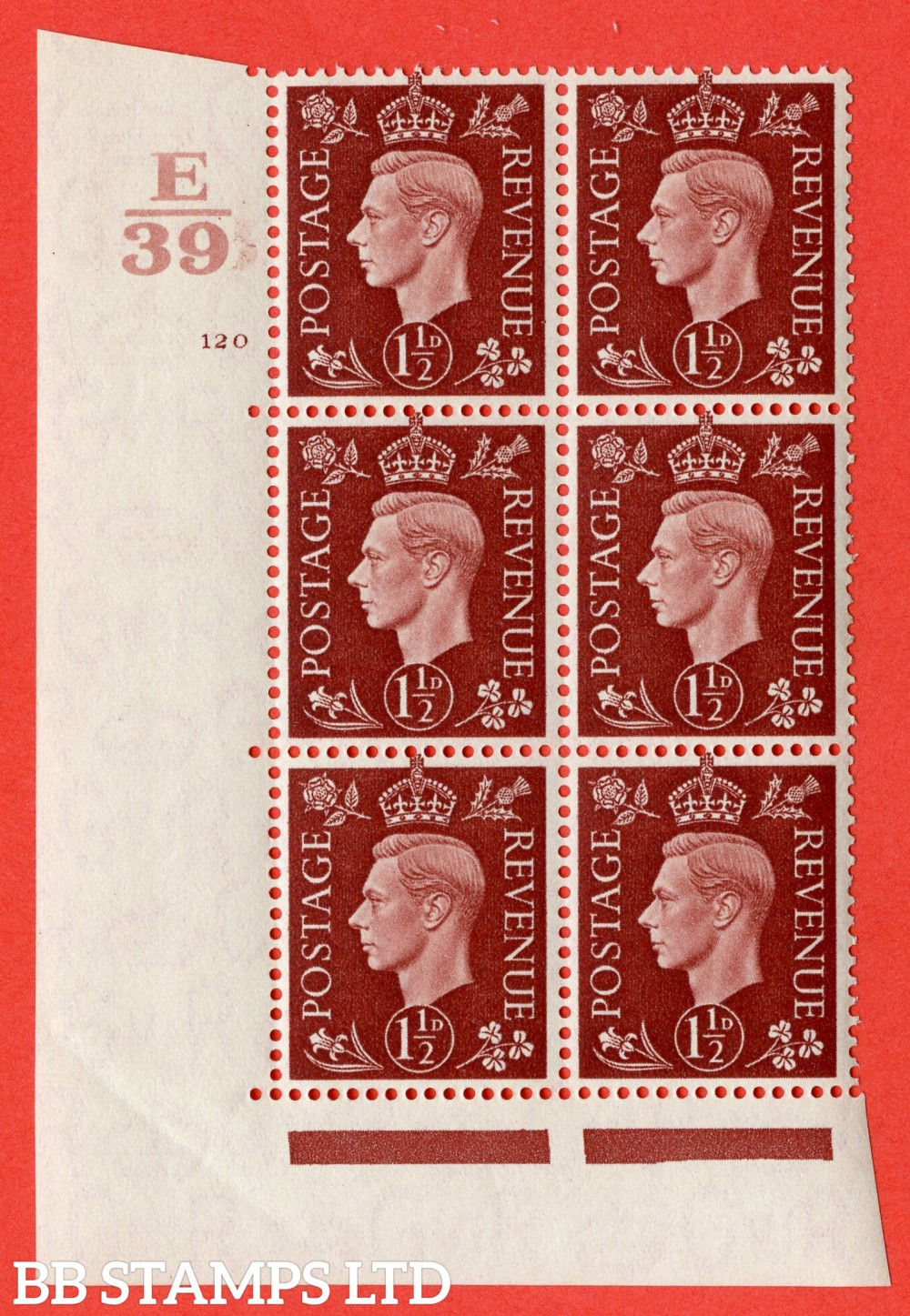 "SG. 464. Q7. 1½d Red-Brown. A superb UNMOUNTED MINT "" Control E39 cylinder 120 no dot "" block of 6 with perf type 5 E/I."