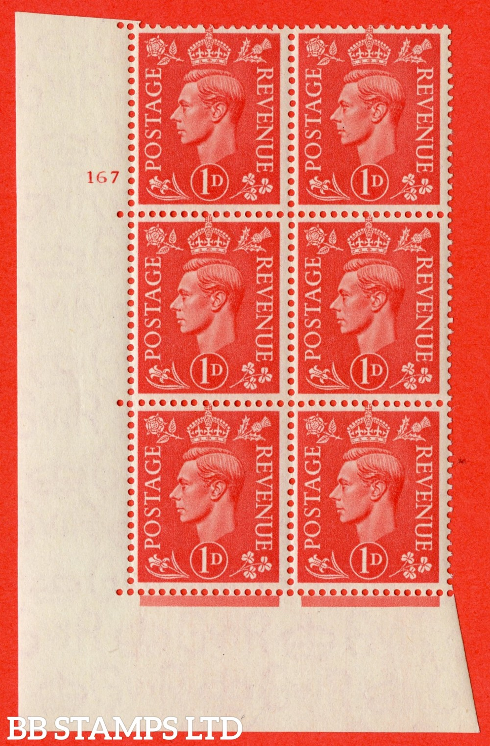"SG. 486. Q5. 1d Pale scarlet. A superb UNMOUNTED MINT "" No Control   cylinder 167 no dot "" control block of 6 with perf type 5 E/I."