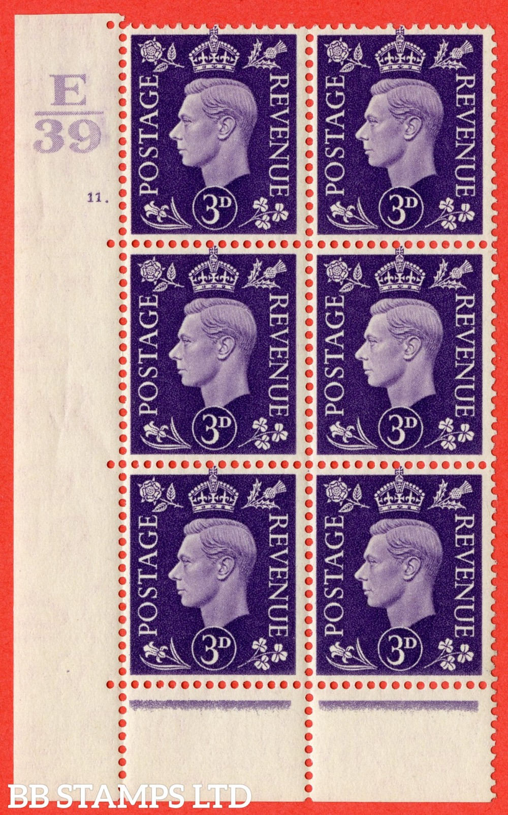 """SG. 467. Q16. 3d Violet. A superb UNMOUNTED MINT. """" Control E39 cylinder 11 dot """" control block of 6 with perf type 6B E/P."""