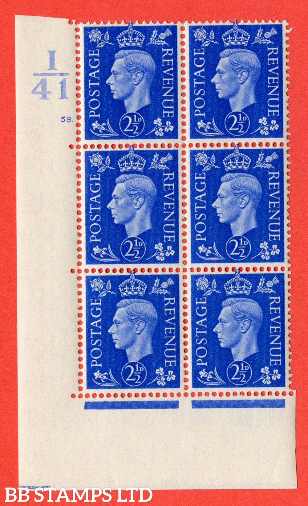 "SG. 466. Q13. 2½d Ultramarine. A superb UNMOUNTED MINT "" Control I41 cylinder 58 dot "" control block of 6 with perf type 5 E/I."