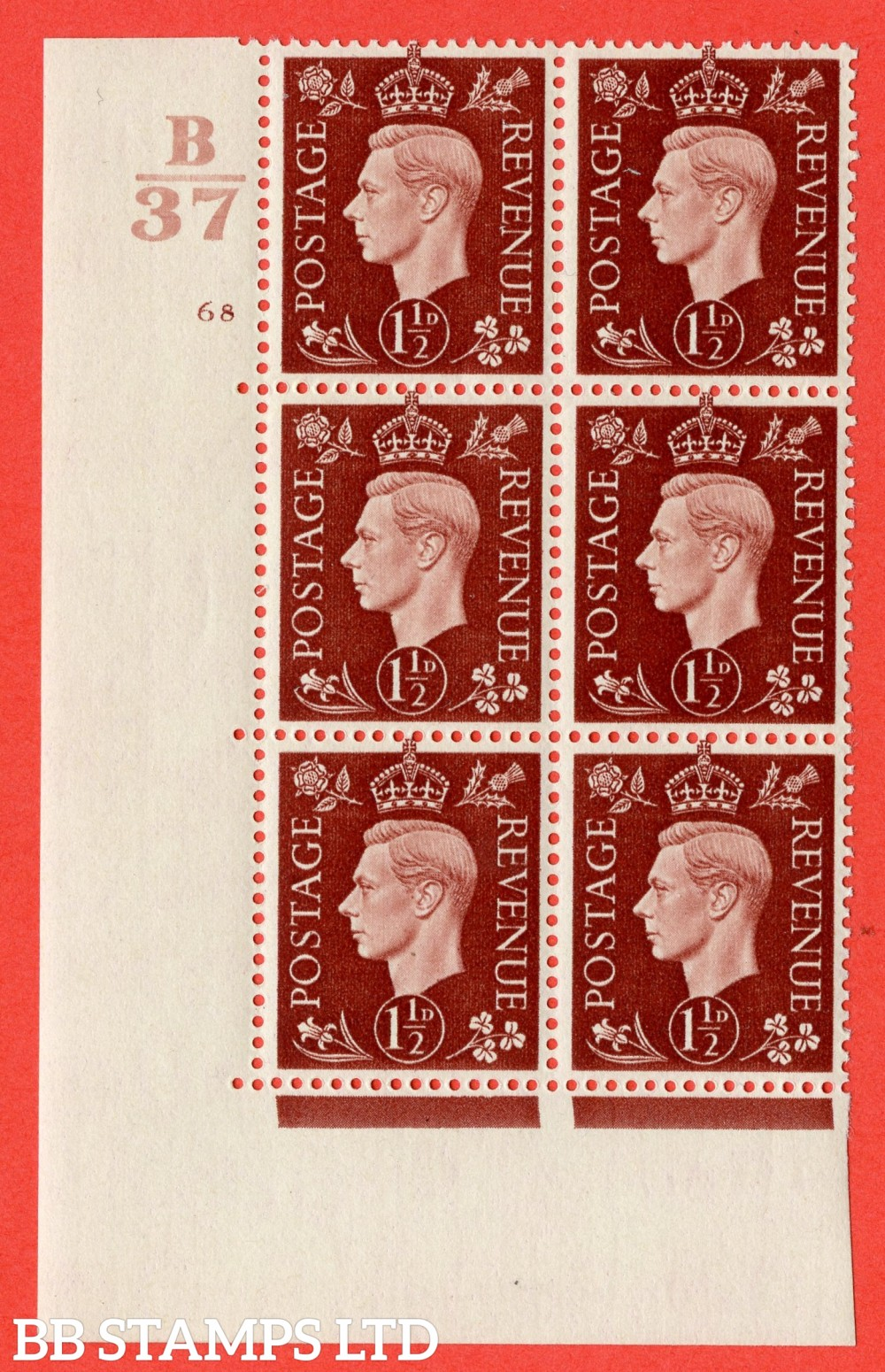 "SG. 464. Q7. 1½d Red-Brown. A superb UNMOUNTED MINT "" Control B37 cylinder 68 no dot "" block of 6 with perf type 5 E/I."