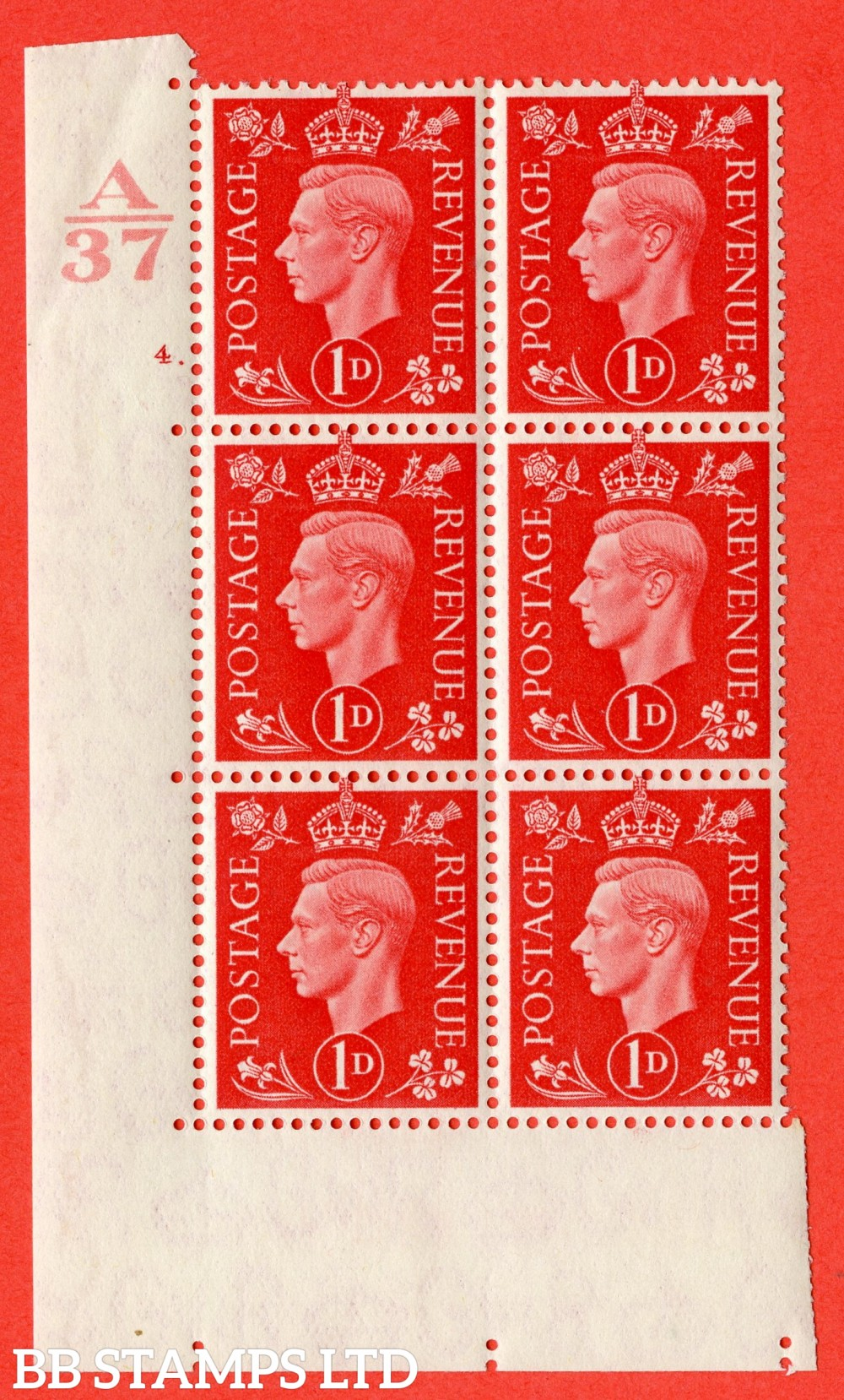 "SG. 463. Q4. 1d Scarlet. A superb UNMOUNTED MINT "" Control A37 cylinder 4 dot "" block of 6 with perf type 5 E/I without marginal rule."