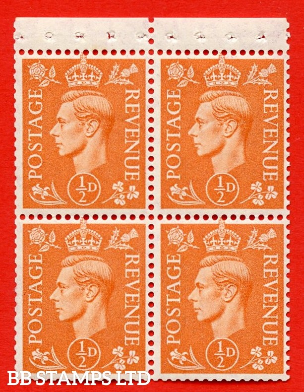 """SG. 503e. QB8. ½d orange. A fine UNMOUNTED MINT complete booklet pane of 4. Perf type """" P """". Trimmed Perfs."""