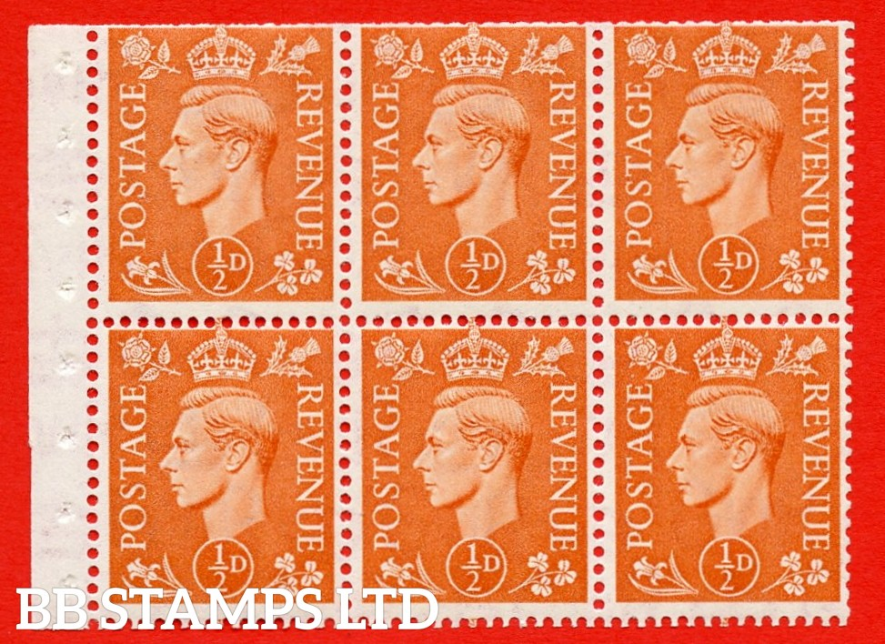 """SG. 503d. QB7. ½d orange. A fine MOUNTED MINT complete booklet pane of 6. Perf type """" I """". Trimmed Perfs."""