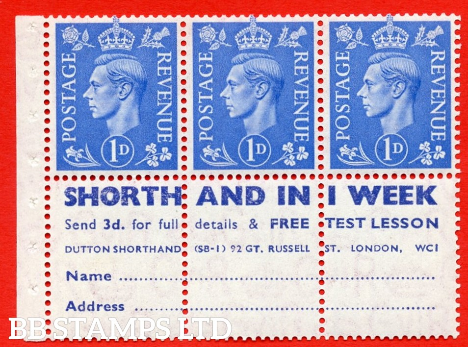 """SG. 504 d. QB20. 1d ultramarine. A fine MOUNTED MINT complete booklet pane with """" SHORTHAND IN 1 WEEK """". Perf type """" Ieb """". Good Perfs."""