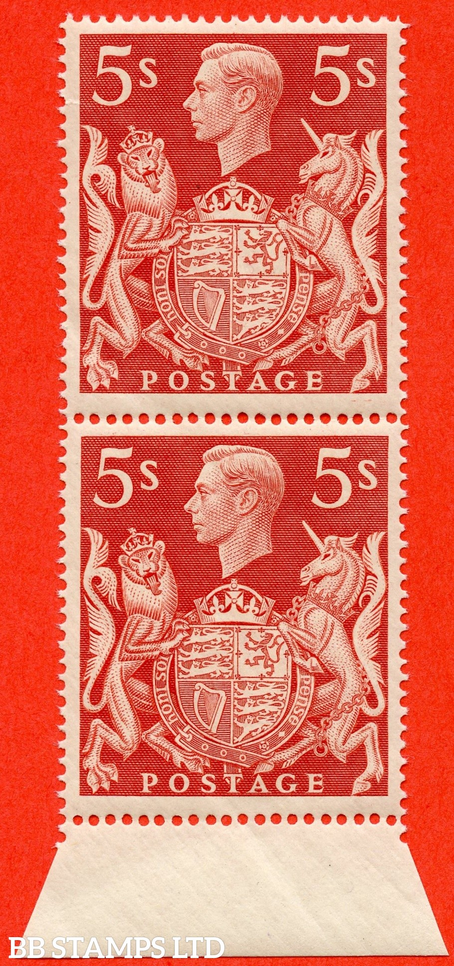 "SG. 477. Q31 f. 5/- red. A super UNMOUNTED MINT bottom marginal vertical pair with the bottom stamp having the listed variety ""  Inverted T guide mark in hair row 5/2 """