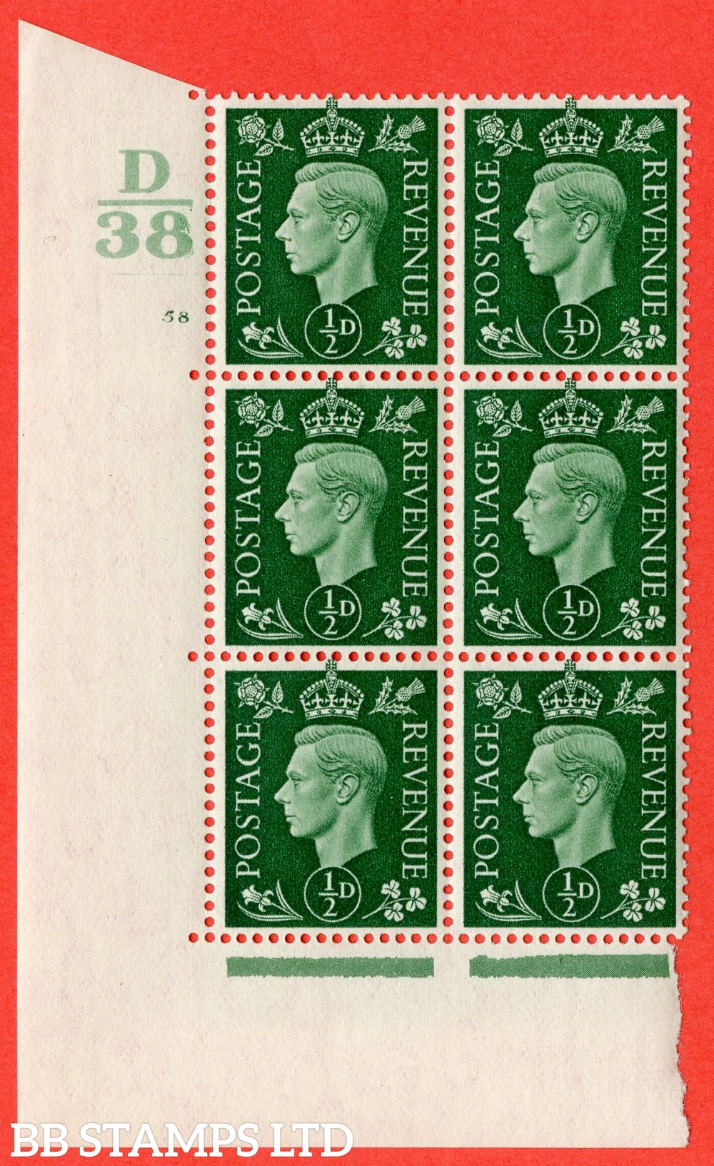 "SG. 462. Q1. ½d Green. A superb UNMOUNTED MINT "" Control D38 cylinder 58 no dot "" block of 6 with perf type 5 E/I."