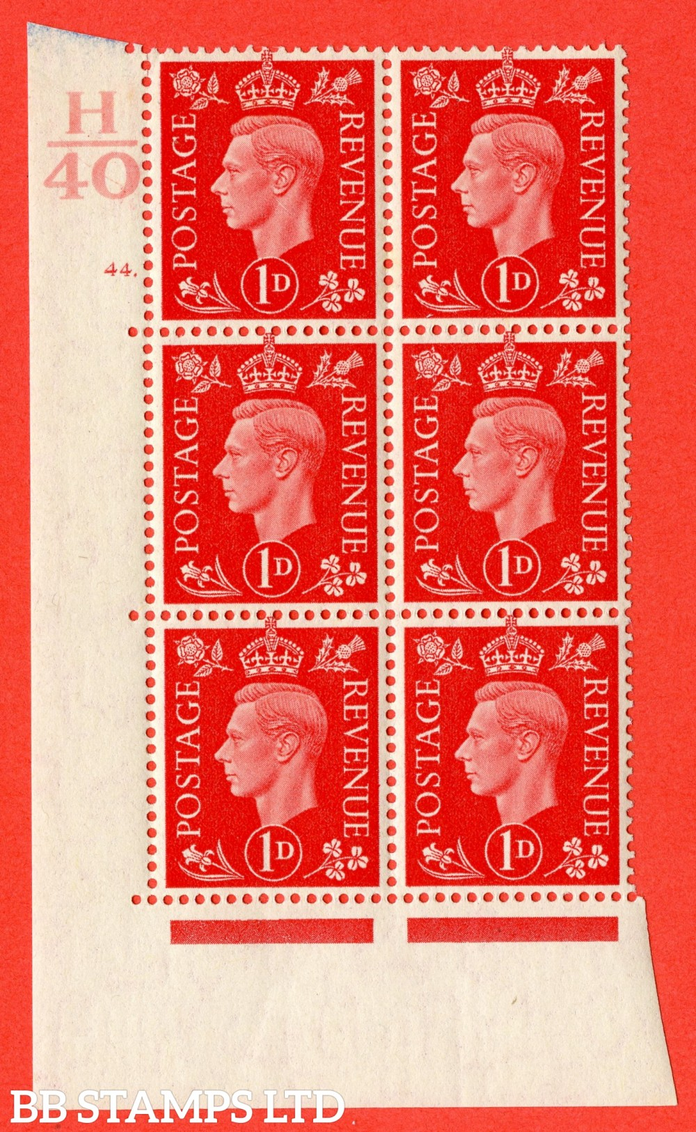 "SG. 463. Q4. 1d Scarlet. A fine lightly mounted mint "" Control H40 cylinder 44 dot "" block of 6 with perf type 5 E/I."