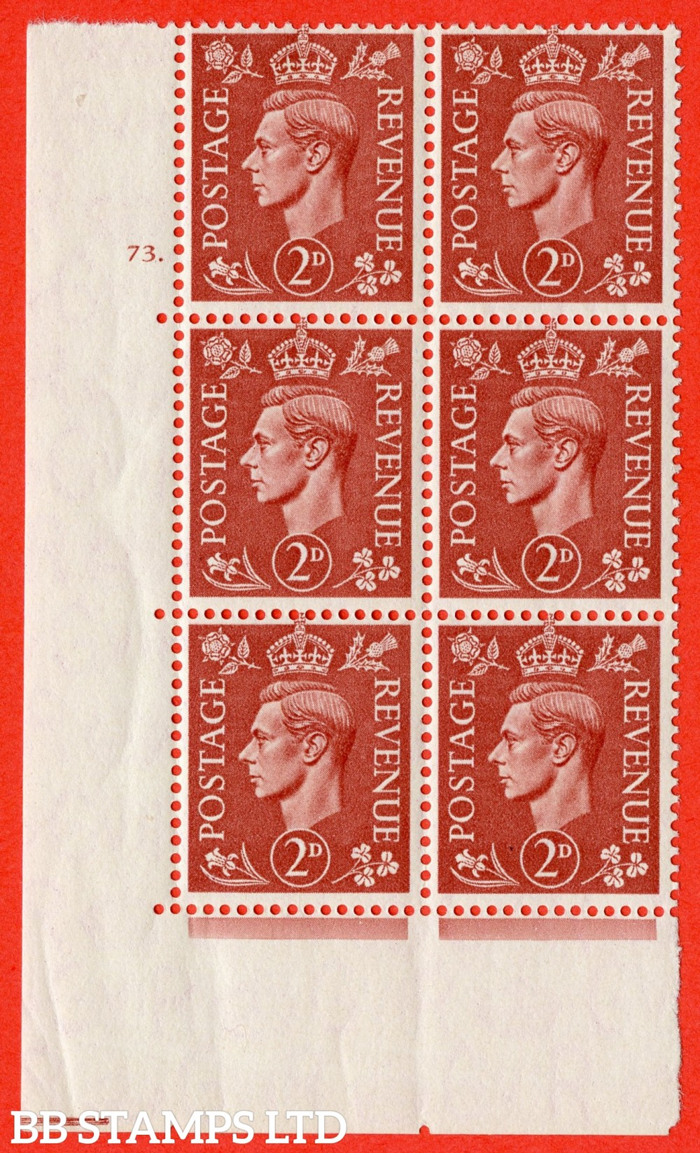 "SG. 506. Q12. 2d Pale Red-Brown. A superb UNMOUNTED MINT "" No Control cylinder 73 dot "" control block of 6 with perf type 5 I/E."