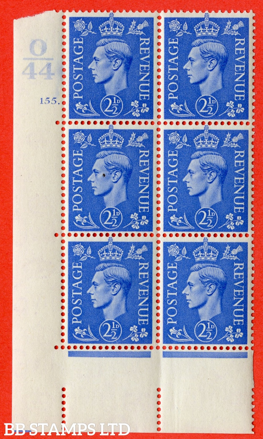 "SG. 489. Q14. 2½d Light ultramarine. A fine lightly mounted mint "" Control O44 cylinder 155 no dot "" control block of 6 with perf type 5 E/I."