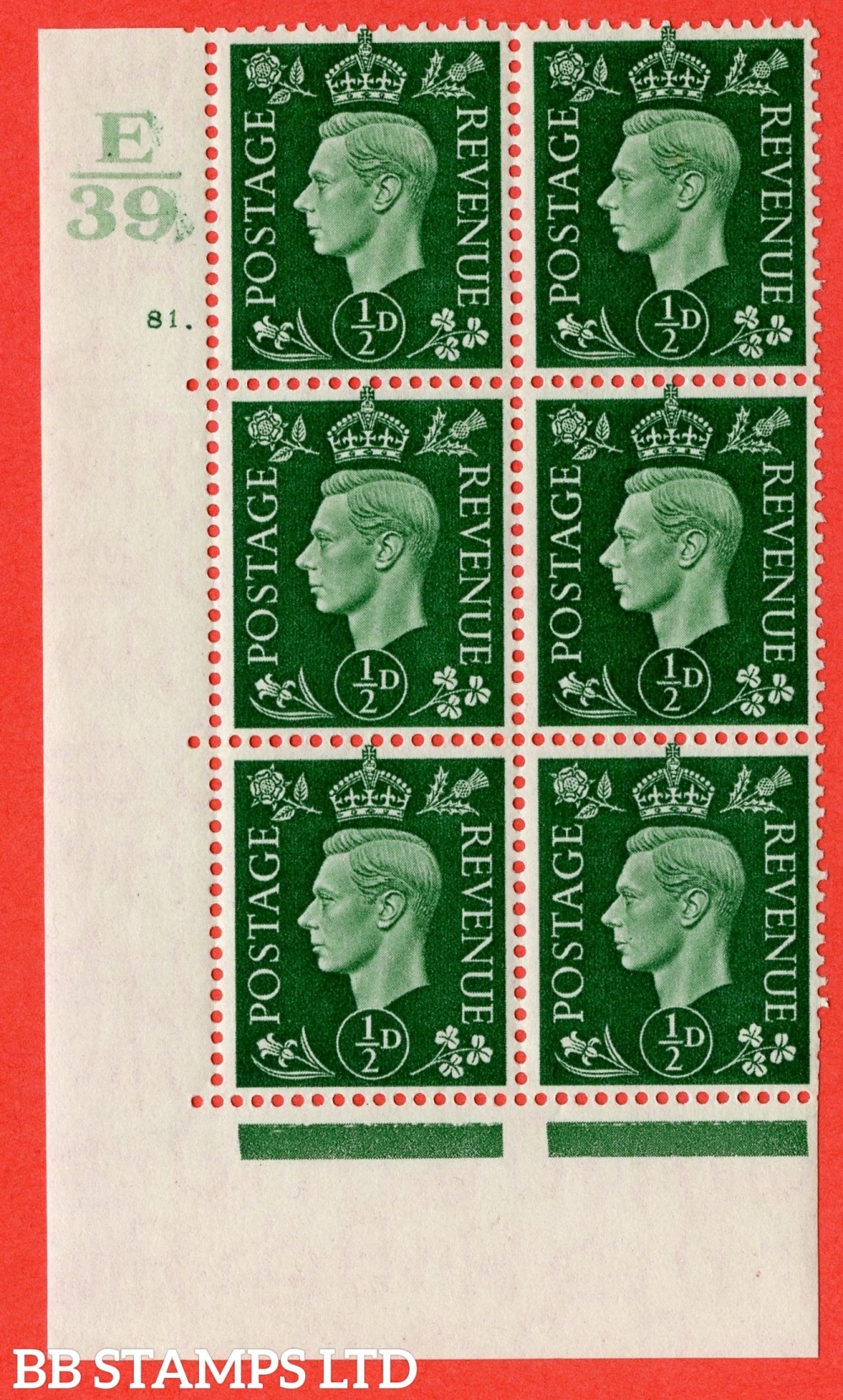 """SG. 462. Q1. ½d Green. A fine lightly mounted mint """" Control E39 cylinder 81 no dot """" block of 6 with perf type 5 E/I with marginal rule."""