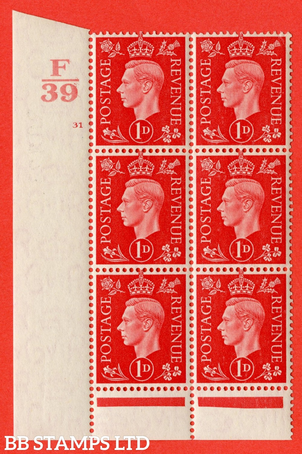 "SG. 463. Q4. 1d Scarlet. A superb UNMOUNTED MINT "" Control E39 cylinder 31 no dot "" block of 6 with perf type 6 I/P with marginal rule."