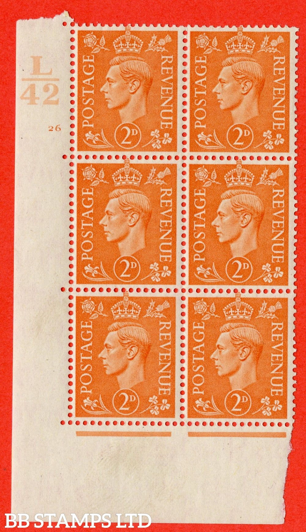 "SG. 488. Q11. 2d Pale Orange. A fine lightly mounted mint "" Control L42 cylinder 26 no dot "" control block of 6 with perf type 5 E/I."