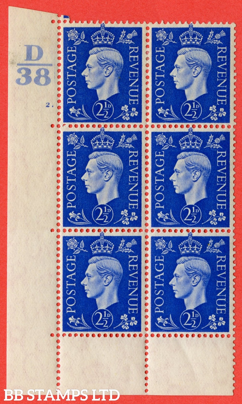 "SG. 466. Q13. 2½d Ultramarine.  A fine lightly mounted mint "" Control D38 cylinder 2 dot "" control block of 6 with perf type 6B E/P."