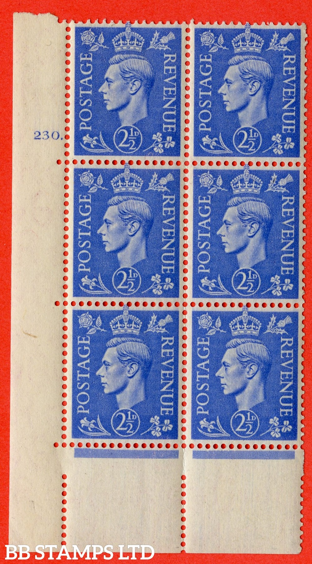 "SG. 489. Q14. 2½d Light ultramarine. A superb UNMOUNTED MINT "" No Control cylinder 230 dot "" control block of 6 with perf type 5 E/I"