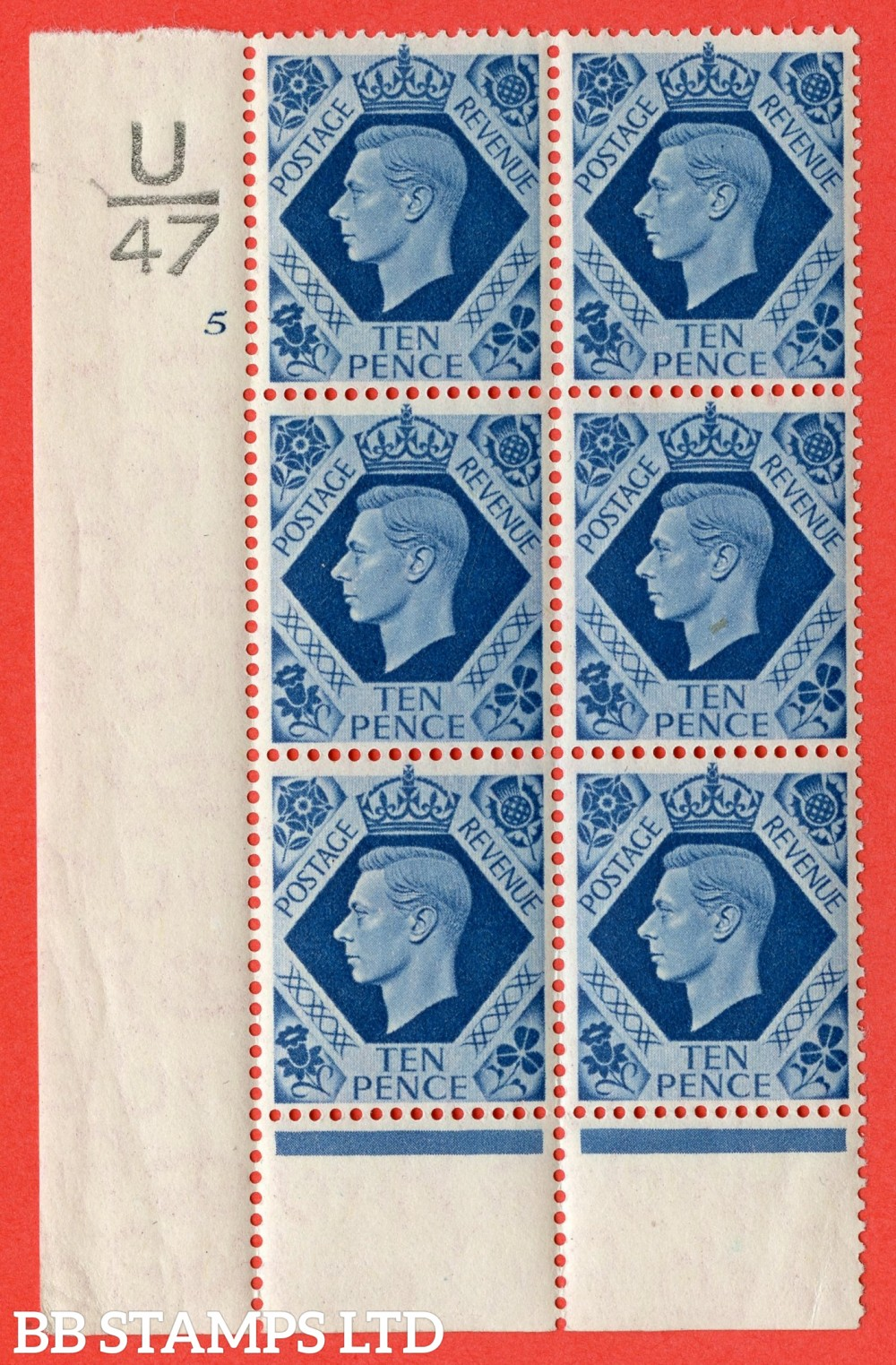 "SG. 474. Q26. 10d Turquoise-Blue. A superb UNMOUNTED MINT "" Control U47 cylinder 5 no dot "" control block of 6 with perf type 6 I/P."