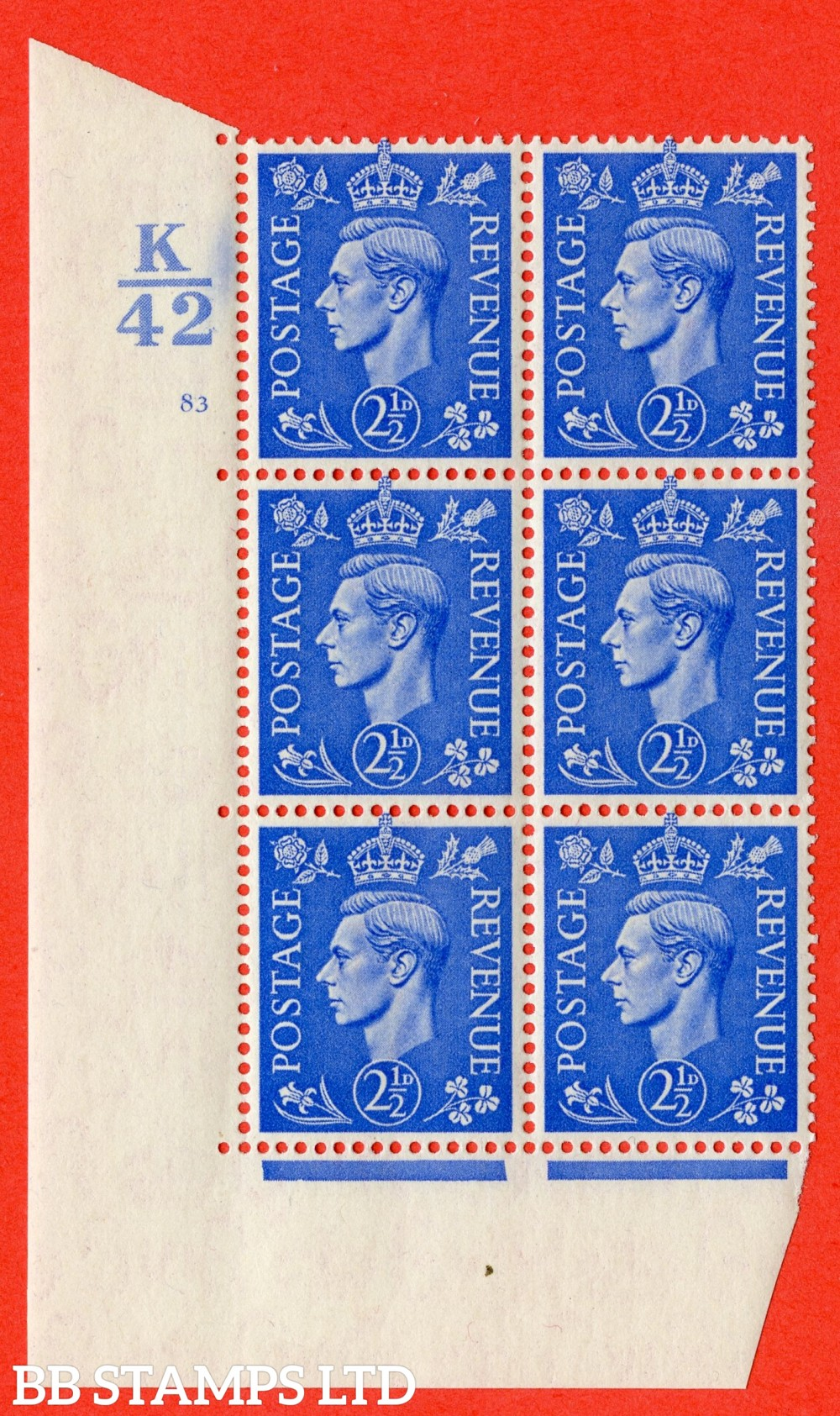 "SG. 489. Q14. 2½d Light ultramarine. A superb UNMOUNTED MINT "" Control K42 cylinder 83 no dot "" control block of 6 with perf type 5 E/I."