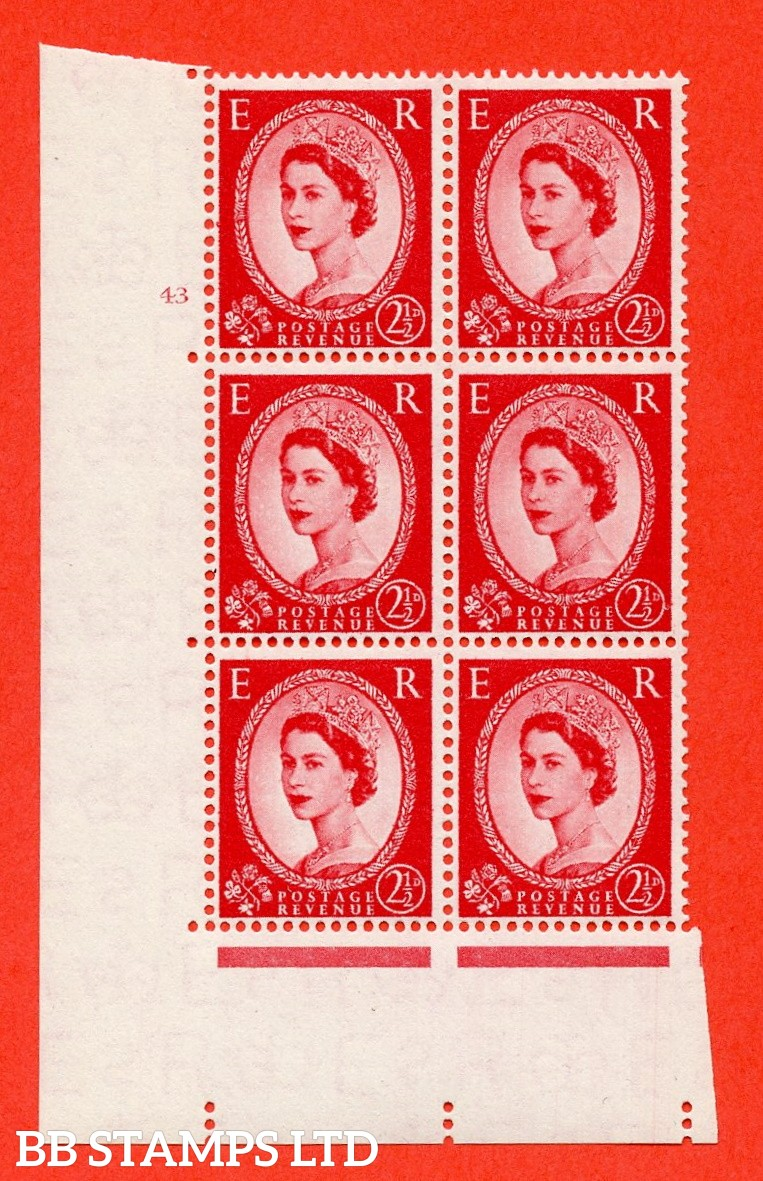 "SG. 544. S52. 2½d. Carmine - Red. A superb UNMOUNTED MINT "" cylinder 43 no dot "" control block of 6 with perf type A E/I."