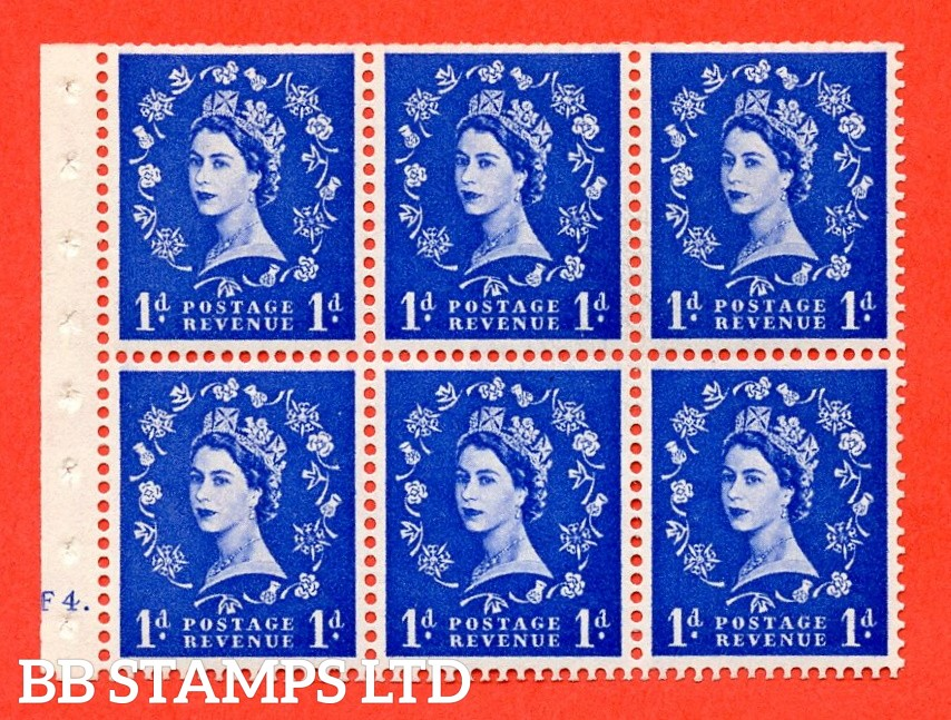 """SG. 541. SB26b. 1d ultramarine. A fine mounted mint cylinder """" F4 dot """" booklet pane of 6. Perf type (Ieb) with TRIMMED PERFS. Smooth edge. Listed variety """" Dot on Serif """"."""
