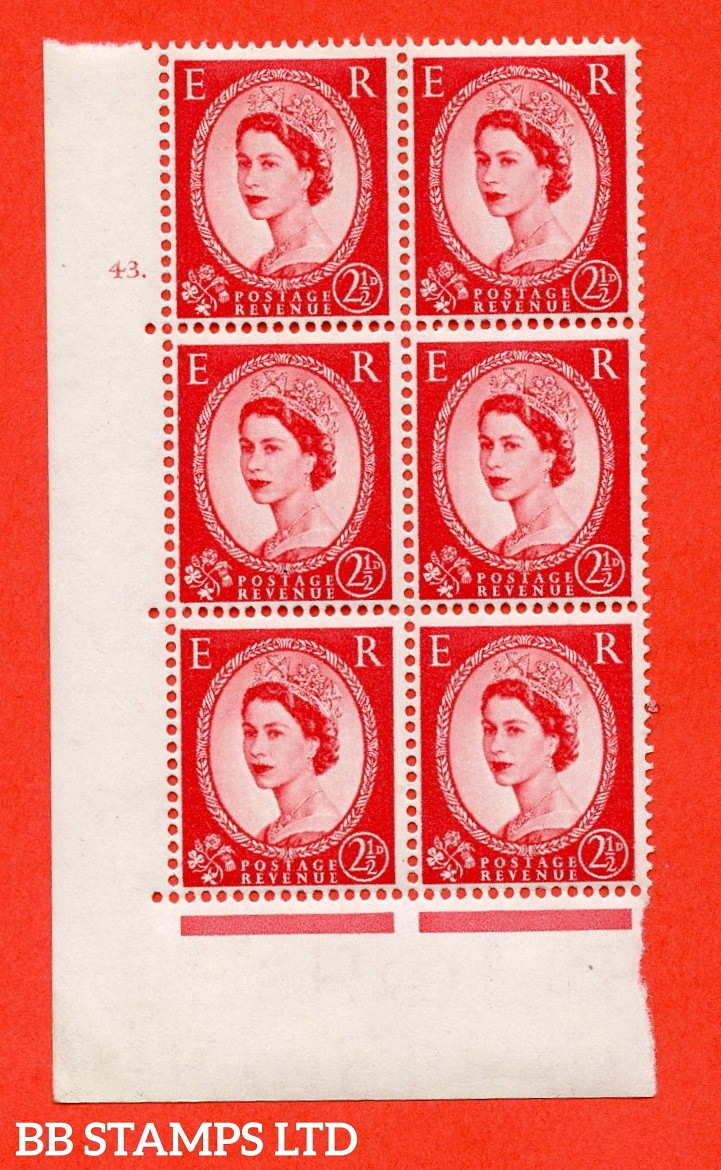 "SG. 544. S52. 2½d. Carmine - Red. A fine lightly mounted mint "" cylinder 43 dot "" control block of 6 with perf type A E/I."