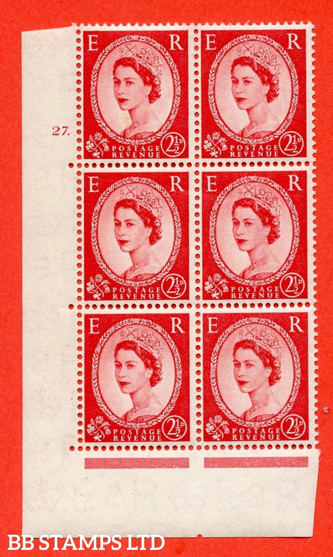 "SG. 544. S52. 2½d. Carmine - Red. A superb UNMOUNTED MINT "" cylinder 27 dot "" control block of 6 with perf type A E/I."
