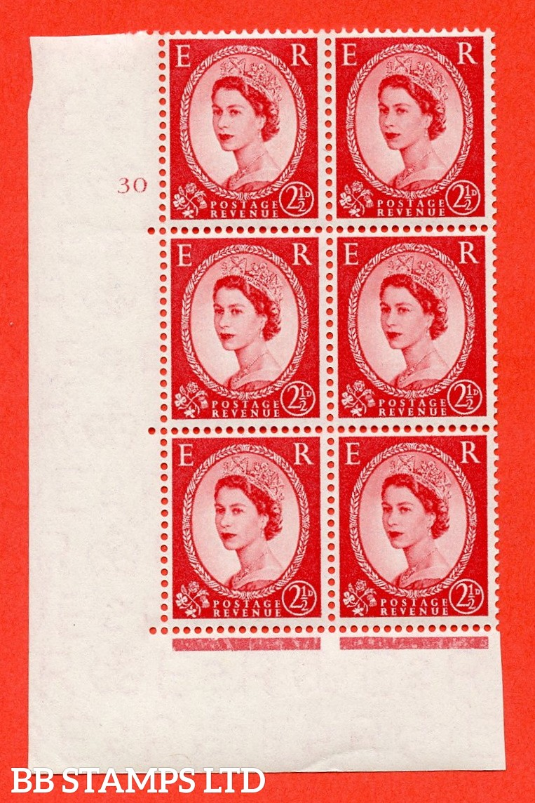 """SG. 544. S52. 2½d. Carmine - Red. A superb UNMOUNTED MINT """" cylinder 30 no dot """" control block of 6 with perf type A E/I."""