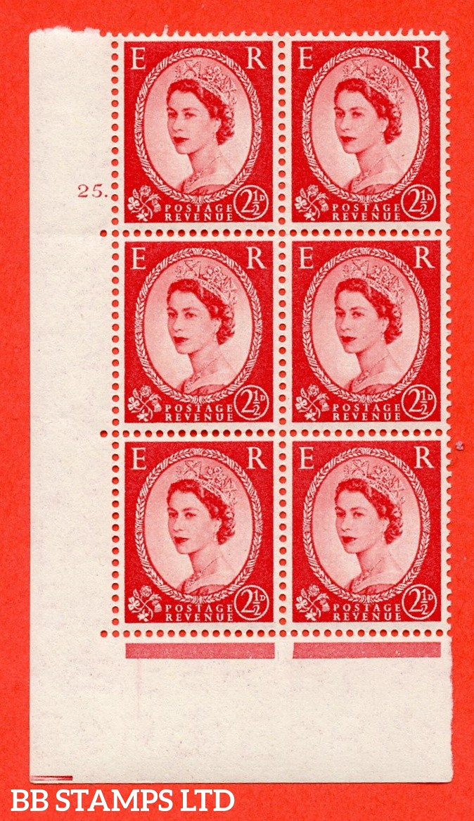 "SG. 544. S52. 2½d. Carmine - Red. A superb UNMOUNTED MINT "" cylinder 25 dot "" control block of 6 with perf type A E/I."
