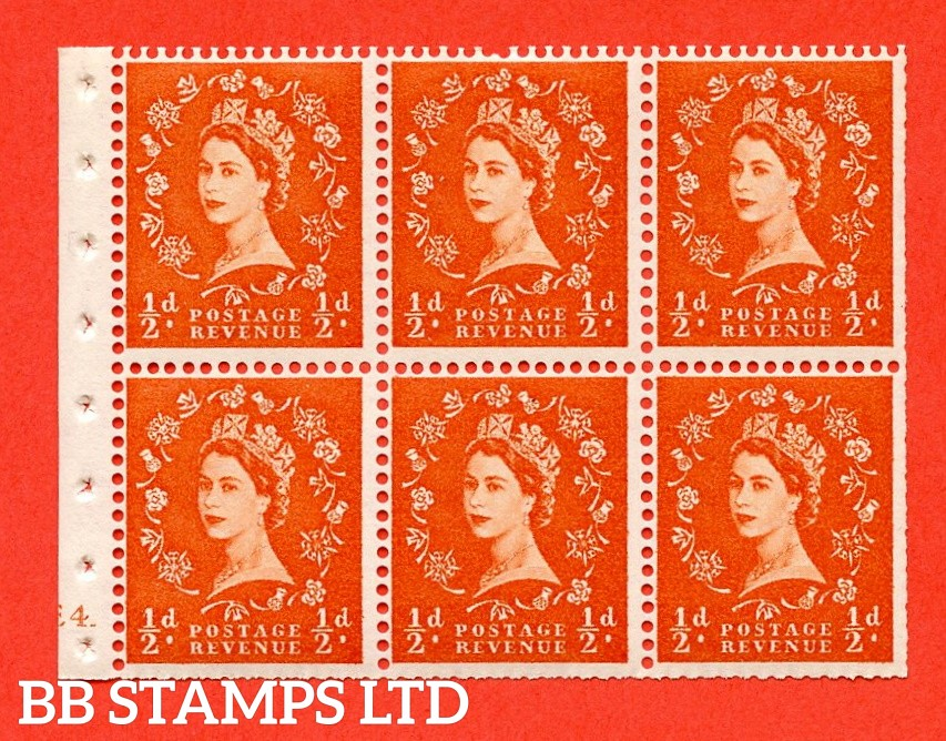 """SG. 540. SB4. ½d orange - red. A fine UNMOUNTED MINT cylinder """" E4 dot """" booklet pane of 6. Perf type (I) with TRIMMED PERFS. Smooth edge."""