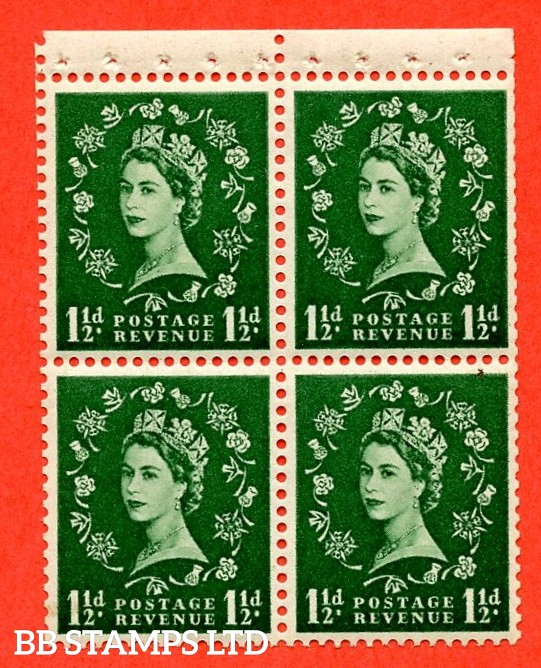 SG. 517M. SB60.1½d green. A Superb UNMOUNTED MINT. Complete booklet pane of 4 with perf type P. Good perfs.