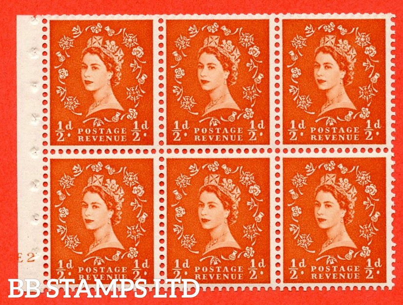 "SG. 515. SB1. ½d orange - red. A fine UNMOUNTED MINT cylinder "" E2 no dot "" booklet pane of 6. Perf type (I) with TRIMMED PERFS. Smooth edge."