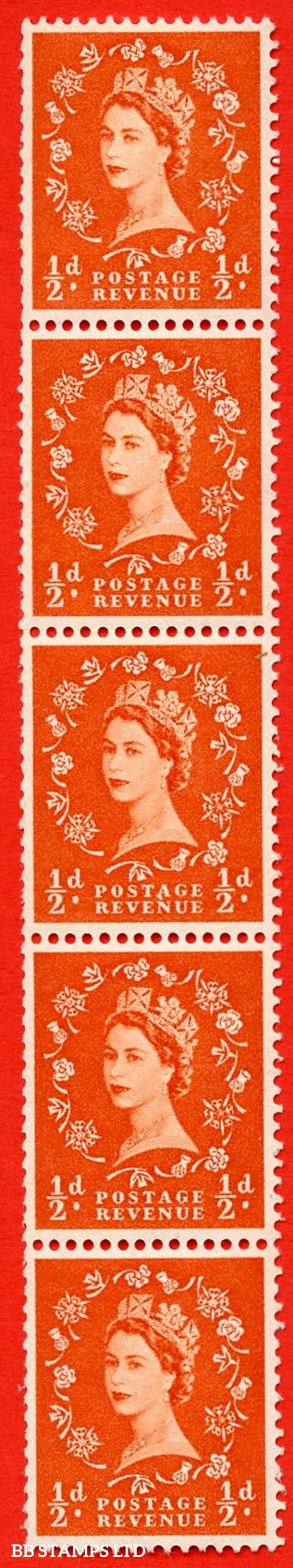 "SG. 515. S1c. ½d Orange-Red. A superb UNMOUNTED MINT. Vertical coil of 5.  Variety ""A"" flaw (Vert.coil,Roll 3)."