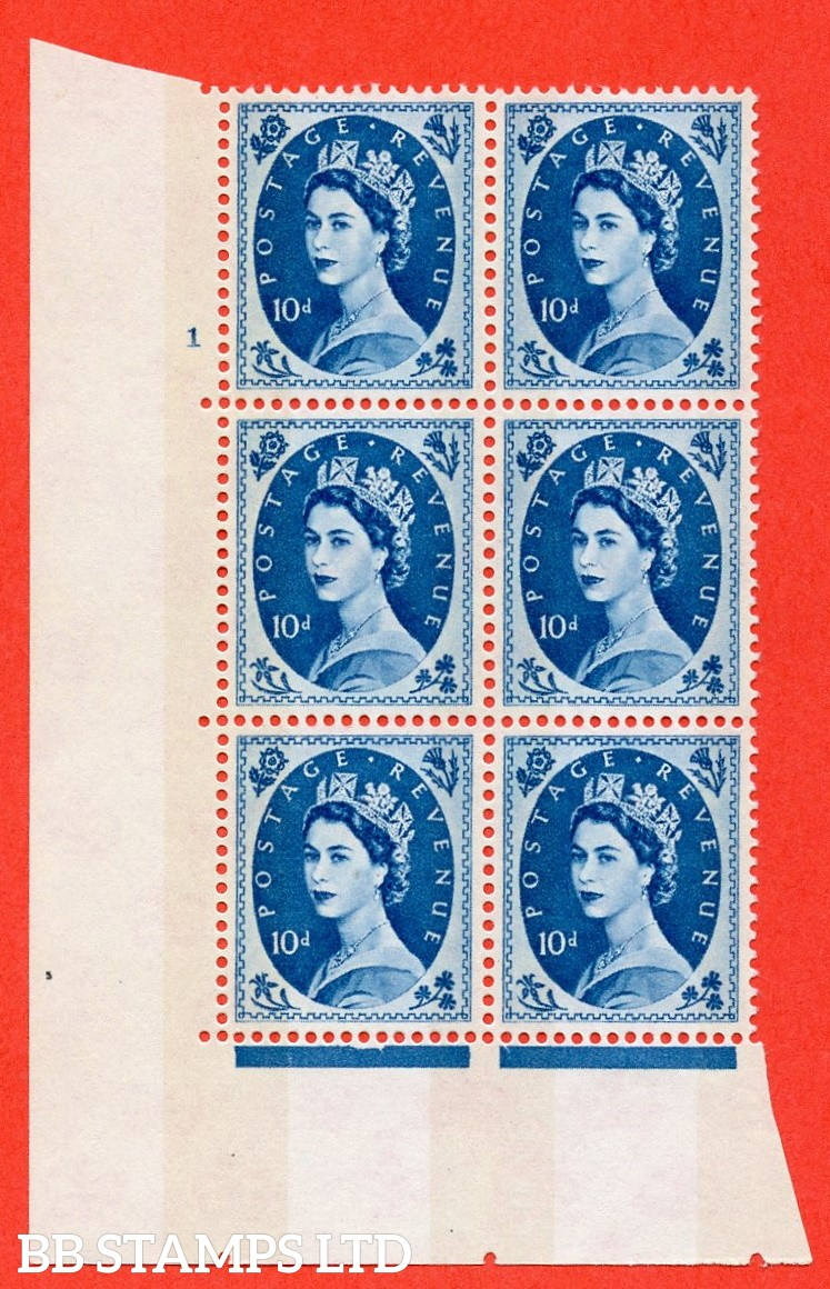 "SG.617d. S133. 10d Prussian Blue. A fine mounted mint "" cylinder 1 no dot "" control block of 6 with perf type A (E/I). violet Phosphor 9½mm Band"