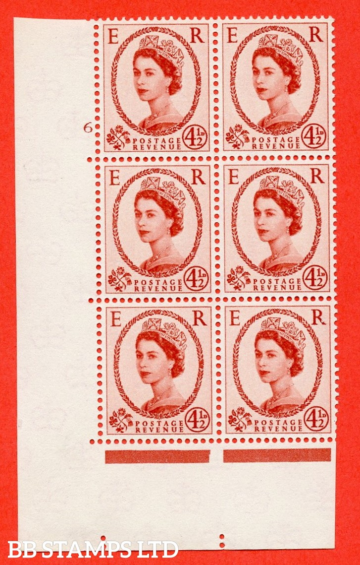"SG. 577 S93. 4d½ chestnut  A superb UNMOUNTED MINT "" cylinder 6 no dot "" control block of 6 with perf type A (E/I)."