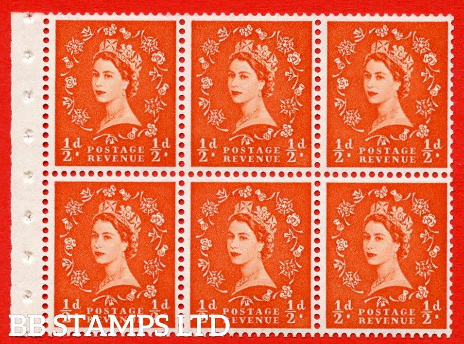 SG. 515. SB1. ½d orange - red. A fine UNMOUNTED MINTexample. Complete Booklet pane of 6. Perf Type IR. Good perfs