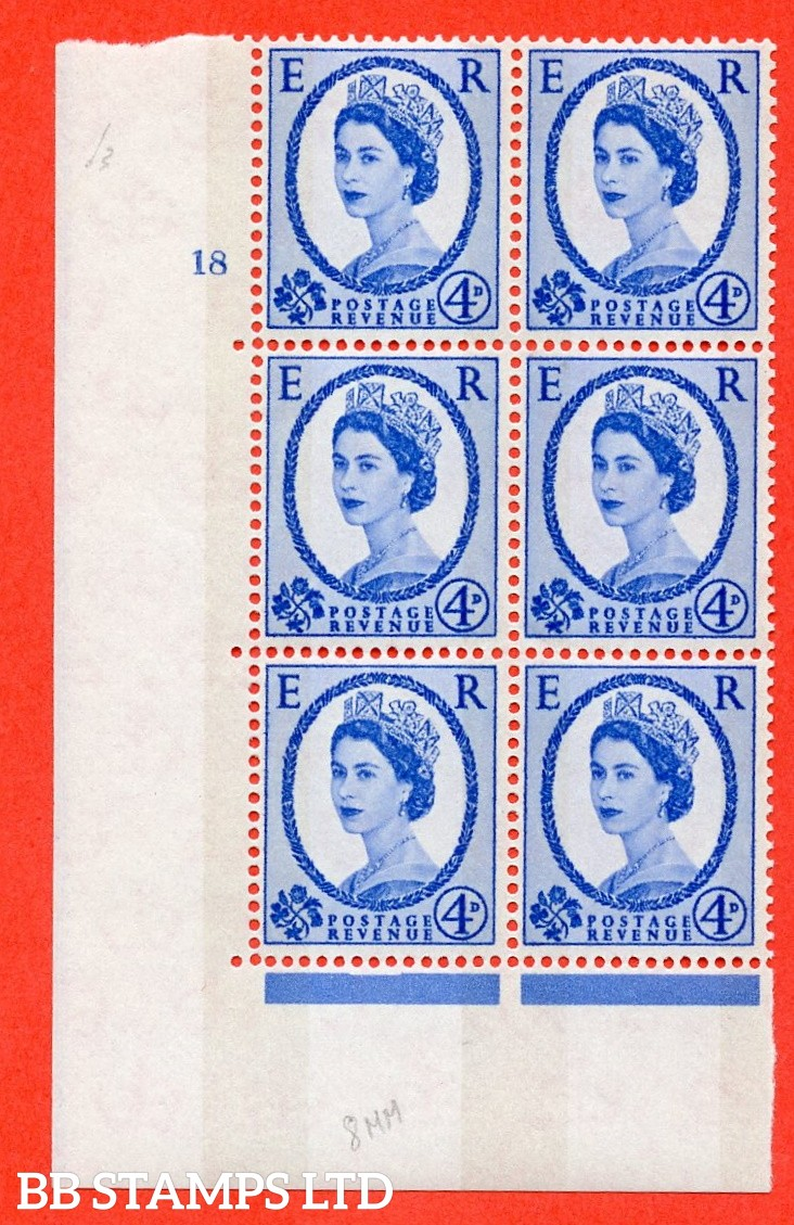 "SG.616a. S91. 4d Deep Ultramarine. A superb UNMOUNTED MINT "" cylinder 18 no dot "" control block of 6 with perf type A (E/I). violet Phosphor 8mm Band."