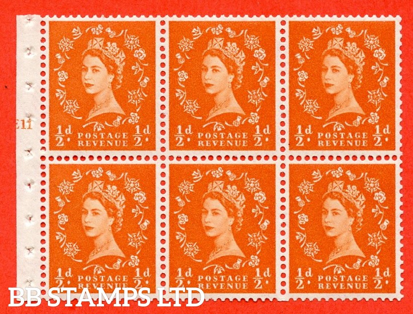 "SG. 570. SB8. ½d orange - red. A fine UNMOUNTED MINT cylinder "" E11 T no dot "" booklet pane of 6. Perf type (I) with GOOD PERFS. Smooth edge White paper."