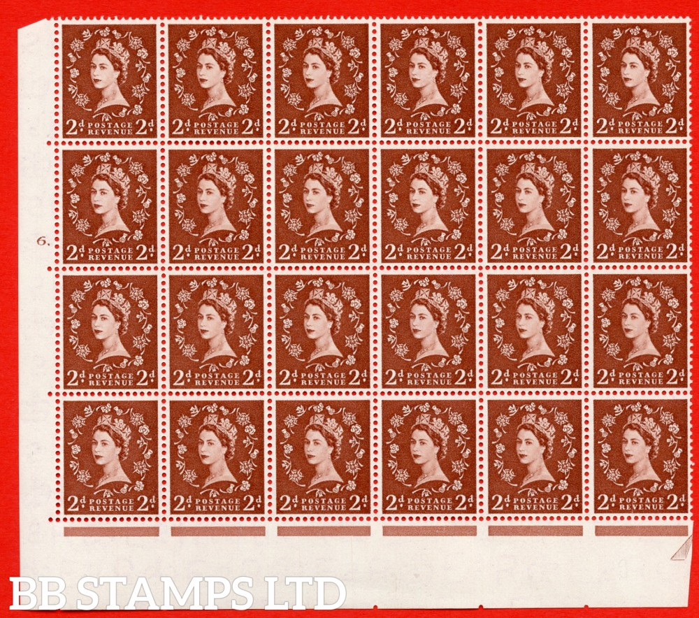 SG. 543b. S38g. 2d. Light Red-brown. A superb UNMOUNTED MINT example from cylinder 6 dot. corner marginal positional Block of 24. With a Tadpole flaw retouched ERROR R.17/6 variety.