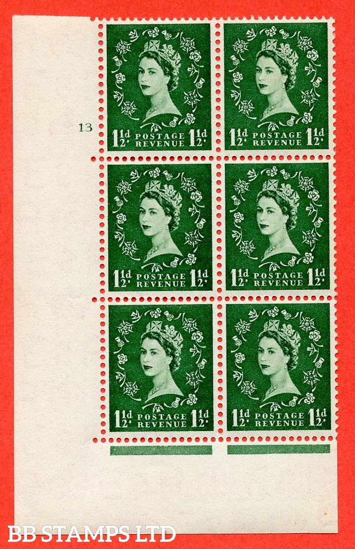 "SG. 542. S26. 1½d. Green. A superb UNMOUNTED MINT "" cylinder 13 no dot "" control block of 6 with perf type A E/I"
