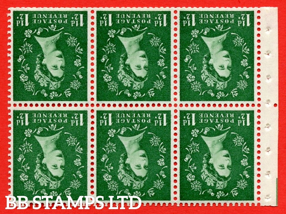 SG. 517wi. SB59a. 1½d green. A fine UNMOUNTED MINT. WATERMARK INVERTED. complete booklet pane of 6. Perf type (Iem) with Trimmed perfs.