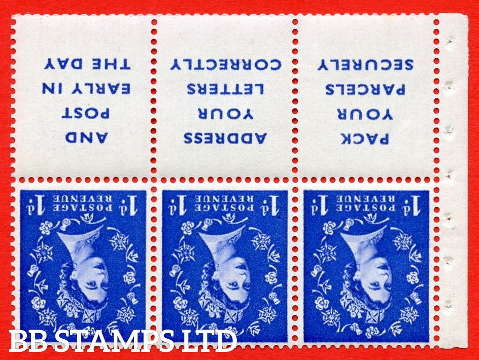 SG. 516Lawi. SB25a. 1d ultramarine. A fine UNMOUNTED MINT. WATERMARK INVERTED. Complete booklet pane of 6. Perf type (Ieb) with Good PERFS.