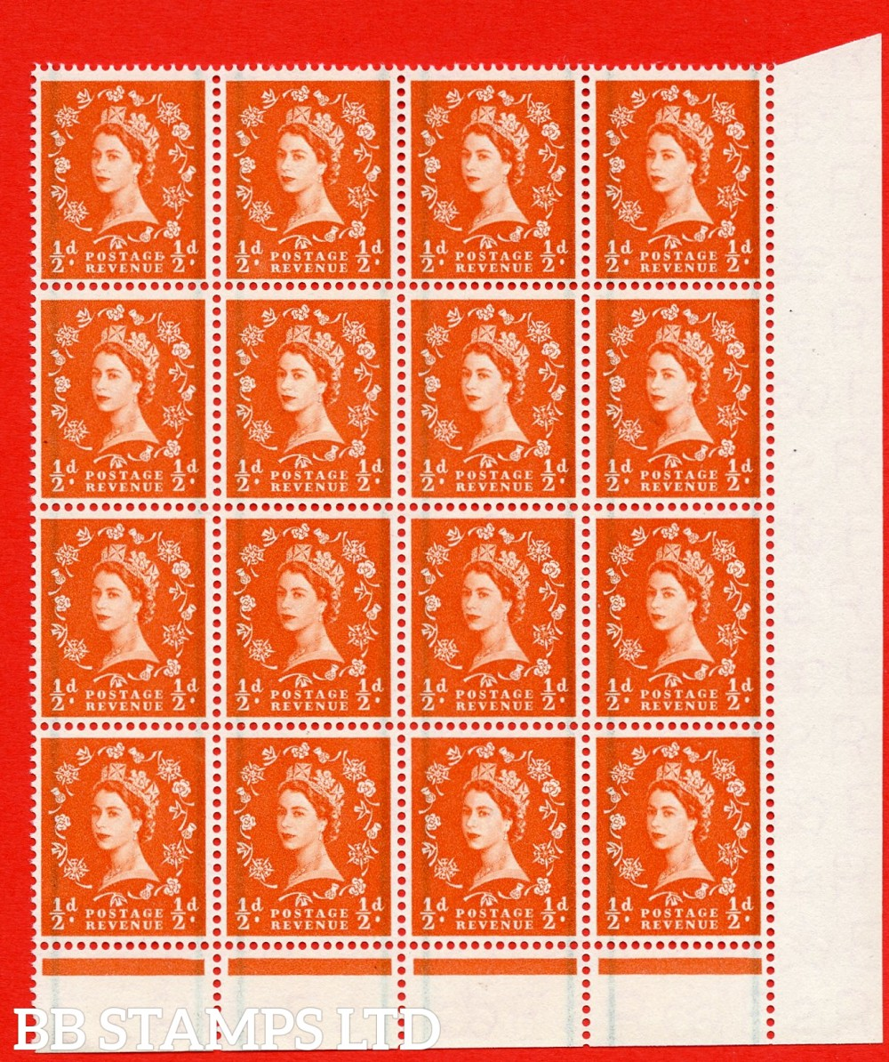 "SG. 561. S3a & S3b. ½d Orange - Red. A superb UNMOUNTED MINT example. Corner marginal positional block of 16. with a ""E"" flaw ERROR. R.17/19 and a, Extra stem to thistle. ERROR. R.18/10 variety"