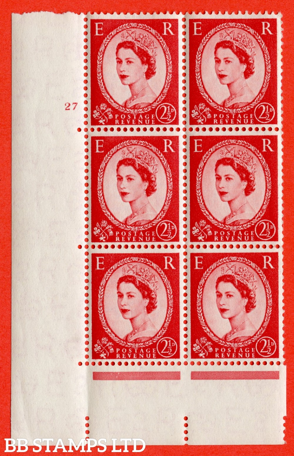 "SG. 544. S52. 2½d. Carmine - Red. A superb UNMOUNTED MINT "" cylinder 27 no dot "" control block of 6 with perf type A E/I."